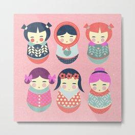 Babushka Russian doll pattern Metal Print
