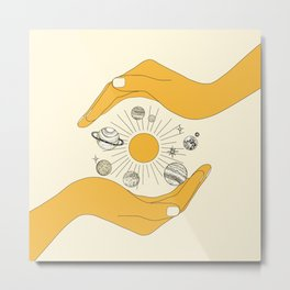 The Universe in Your Hands Metal Print