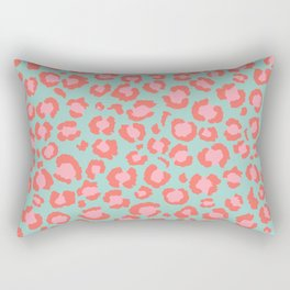 Coral  Leopard Print on Blue background | Living Coral design Rectangular Pillow