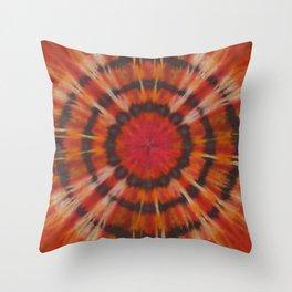 Tie Dye Black Ring Red Orange Stripe Throw Pillow