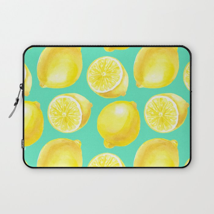 Watercolor lemons pattern Laptop Sleeve