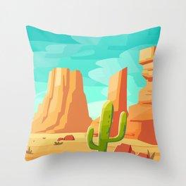 Desert Cactus Landscape, Summer Adventure Prints, Travel Adventure Poster, Southwest Wall Art Throw Pillow