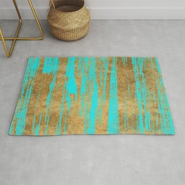 Modern turquoise gold watercolor artistic brushstrokes Rug
