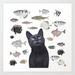The Black Cat Waiting for a Fish to Come By Art Print