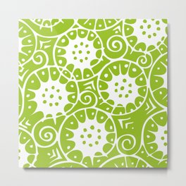 Lime Swirl Pattern | Swirl Pattern | Abstract Patterns | Green and White | Metal Print