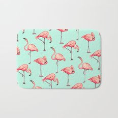Flamingo Pattern - Blue Bath Mat