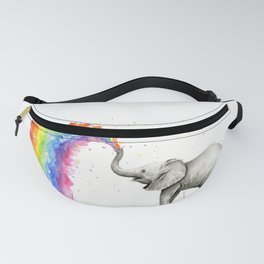 Baby Elephant Spraying Rainbow Fanny Pack
