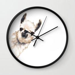 Sneaky Llama White Wall Clock