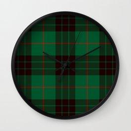 Dark Green Tartan with Black and Red Stripes Wall Clock