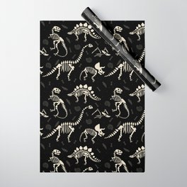 Dinosaur Fossils on Black Wrapping Paper