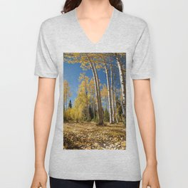 Crested Butte Colorado Fall Colors Panorama - 3 by OLena Art Unisex V-Neck