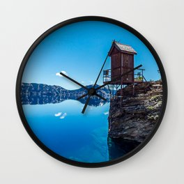 Wilderness Pooper // Crater Lake National Park Beauty of the Blue Skies and Waters Wall Clock
