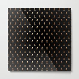SKULLS PATTERN - BLACK & ROSE GOLD - LARGE Metal Print