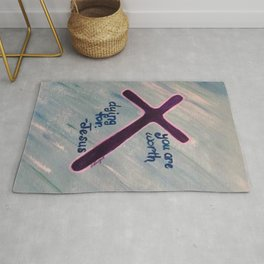 Worth Dying For cross Jesus Rug