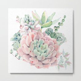 Pink Succulent by Nature Magick Metal Print