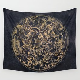 Vintage Constellations & Astrological Signs | Yellowed Ink & Cosmic Colour Wall Tapestry