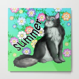 A black cat for all seasons Summer Metal Print