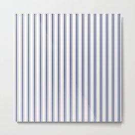 Wide Midnight Blue mattress Ticking Stripes on White Metal Print