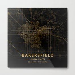 Bakersfield, United States - Gold Metal Print
