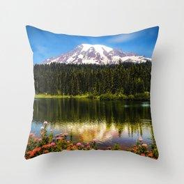 Mt. Rainier, Reflection Lake Throw Pillow