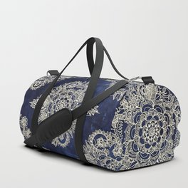 Cream Floral Moroccan Pattern on Deep Indigo Ink Duffle Bag