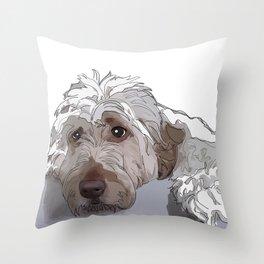 Old English Sheep Dog (white) Throw Pillow