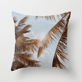 tropical palm leaves v Throw Pillow