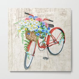 Red bike & white daisy Metal Print