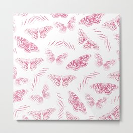 Girly Pink White Butterflies Watercolor Pattern Metal Print