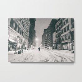 New York - Snow at Night Metal Print