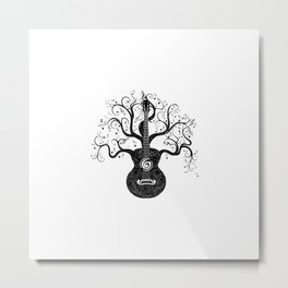 Guitar silhouette with tree branches and music notes Metal Print