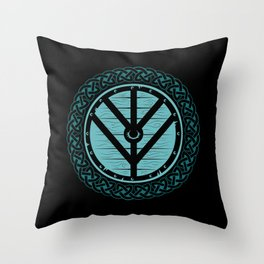 Viking Shield Maiden Norse Knot Work & Teal Shield Throw Pillow