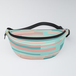 Wright. Modern Geometric Abstract in Aqua, Mint, and Coral Peach Fanny Pack