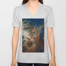 Space Nebula, Star and Space, A View of Galaxy and Outerspace Unisex V-Neck