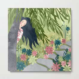 Japanese Girl and Green Willow Metal Print