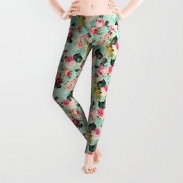 Vintage & Shabby Chic - Summer Teal Roses Flower Garden Leggings