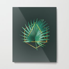 Minimal Tropical Palm Leaf - Palm And Gold - Gold Geometric Shape - Modern Tropical Wall Art - 2 Metal Print