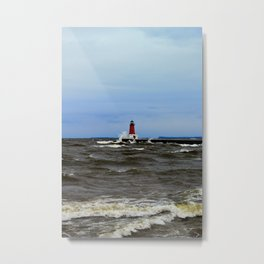 Storm Sandy Effects Menominee Lighthouse Metal Print
