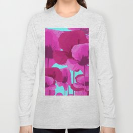 Sweet Pink Poppies On A Turquoise Background #decor #society6 #buyart Long Sleeve T-shirt