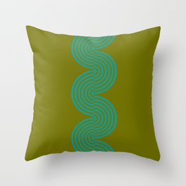 groovy minimalist pattern aqua waves on olive Throw Pillow
