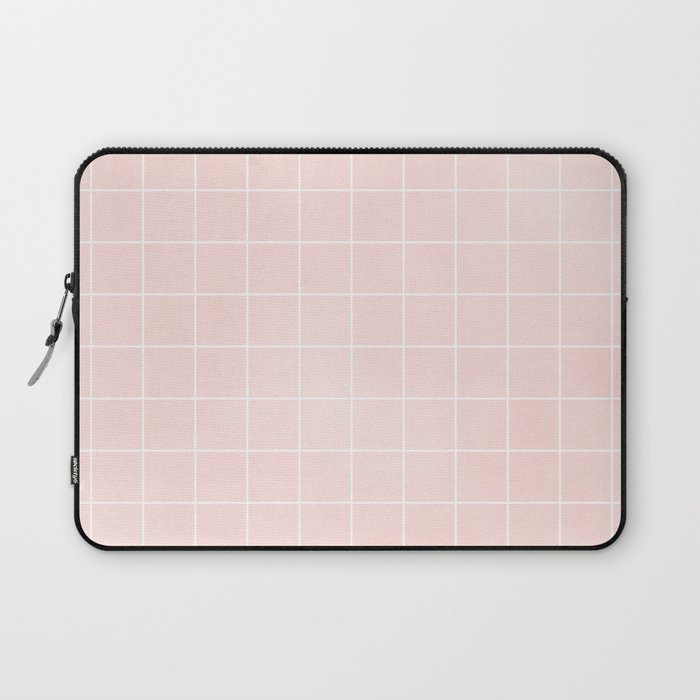 Blush Pink Coral Grid Pattern Line Stripe Laptop Sleeve