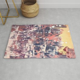 Mirage [2]: a vibrant abstract piece in pinks blues and gold by Alyssa Hamilton Art Rug