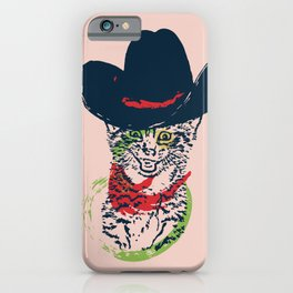 Grunge portrait of a cat in a cowboy hat iPhone Case