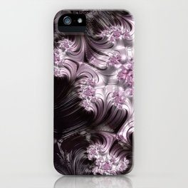 Pretty Pink, Gray and Black Mandelbrot Set Fractal Art iPhone Case