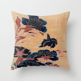 japanese flowers Throw Pillow