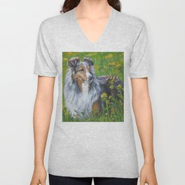 SHELTIE Shetland Sheepdog dog art from an original painting by L.A.Shepard Unisex V-Neck