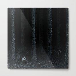 Midnight Silver Wood Badger Metal Print