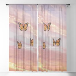Butterfly Sunset Aesthetic Sheer Curtain