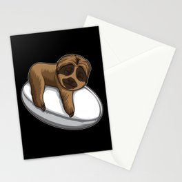 Cute Sloth Sleeps On A Rugby Ball Stationery Cards