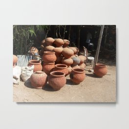 Clay Pots Metal Print